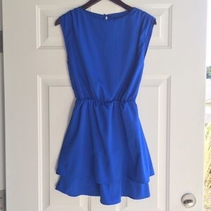 Blue dress with layered skirt